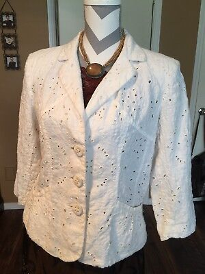 Cold Water Creek Cream Eyelet Lined Jacket M Cold Water Creek Eyelet
