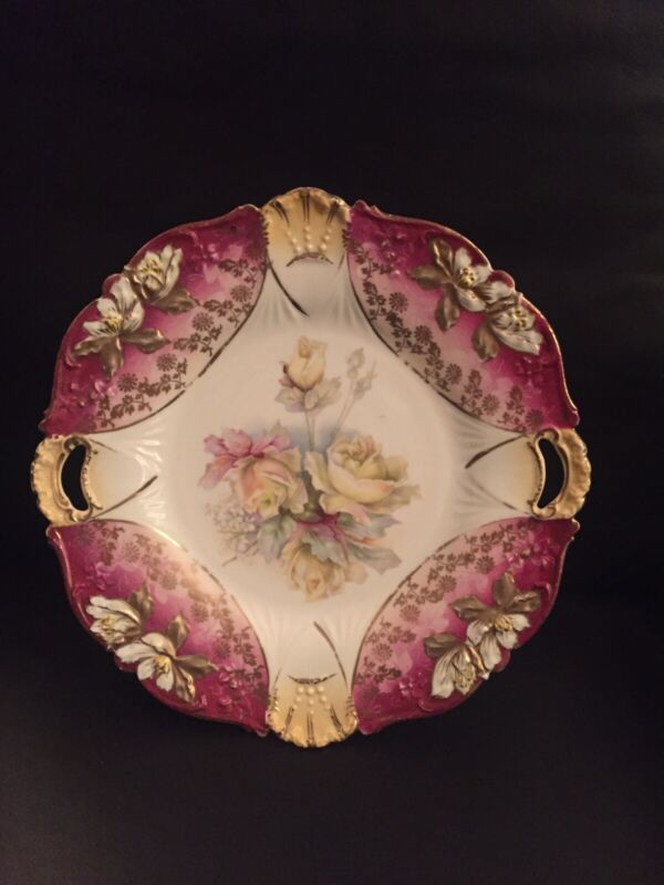 RS Prussia Beautiful Cake Plate Molded Flowers