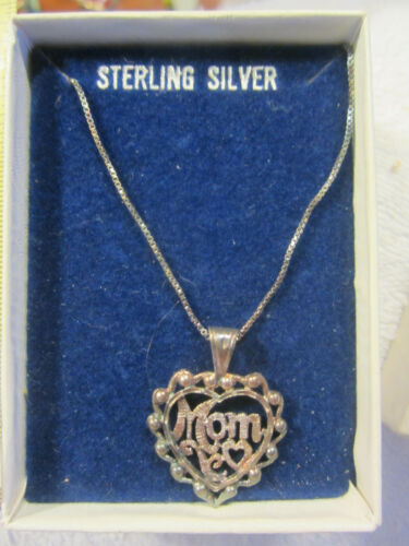 """Vintage sterling Silver Heart Necklace """"Mom"""" 18"""" with original box,NOS,tarnished"""