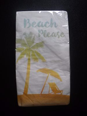 20 Count 2 Ply Paper Guest Towels Napkins Beach Please Theme Creative Convertng - Beach Themed Paper