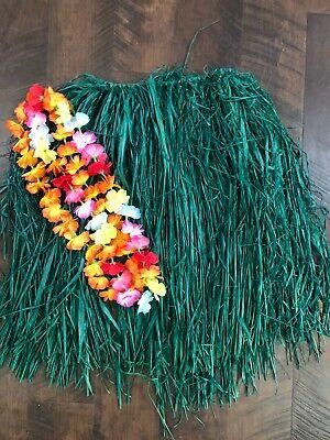 Womens Hawaiian Hula Grass Skirt W 2 Leis Costume Dress Up Grass Skirts Leis