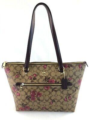 New Authentic Coach F88876 Gallery Tote Handbag Shoulder Bag Signature Khaki