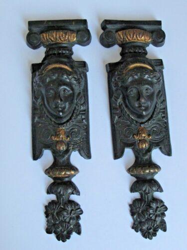 Antique Pair French Bronze Decorative Mounts Elements