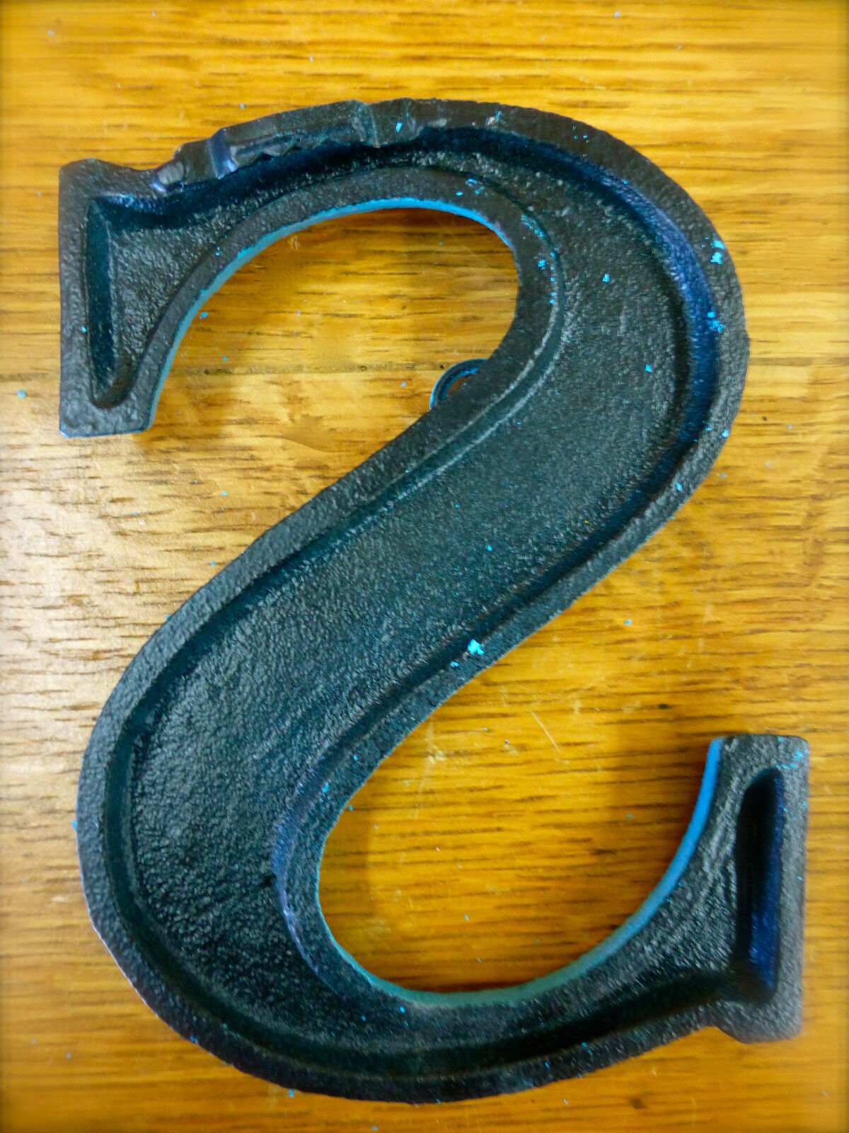 BLUE CAST IRON WALL LETTER \