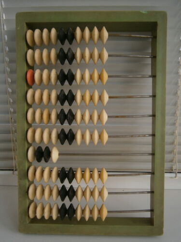 Vtg Soviet Green Military Counting Frame Russian Abacus White & Black Beads USSR