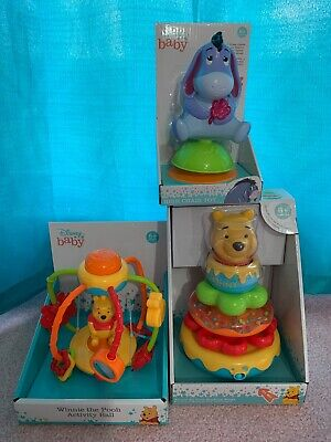 New Lot Of 3 Disney Baby Winnie The Pooh Toys High Chair Stacking Rings & Ball
