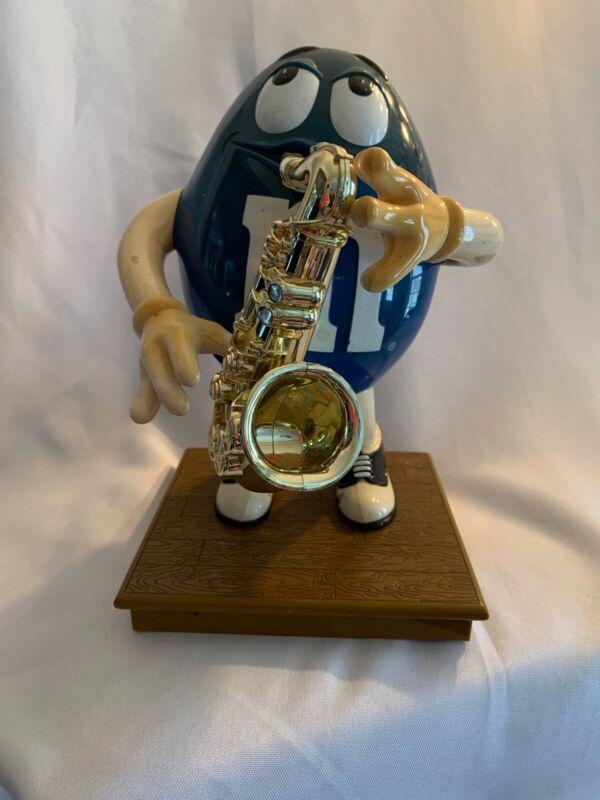 Vintage M&M Blues Café LIMITED EDITION Saxophone Candy Dispenser Blue