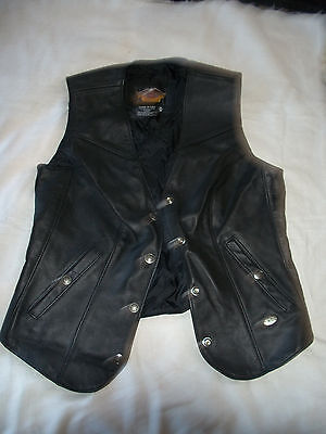 HARLEY DAVIDSON MOTORCYCLE GENUINE BLACK LEATHER WOMEN'S VEST SIZE M