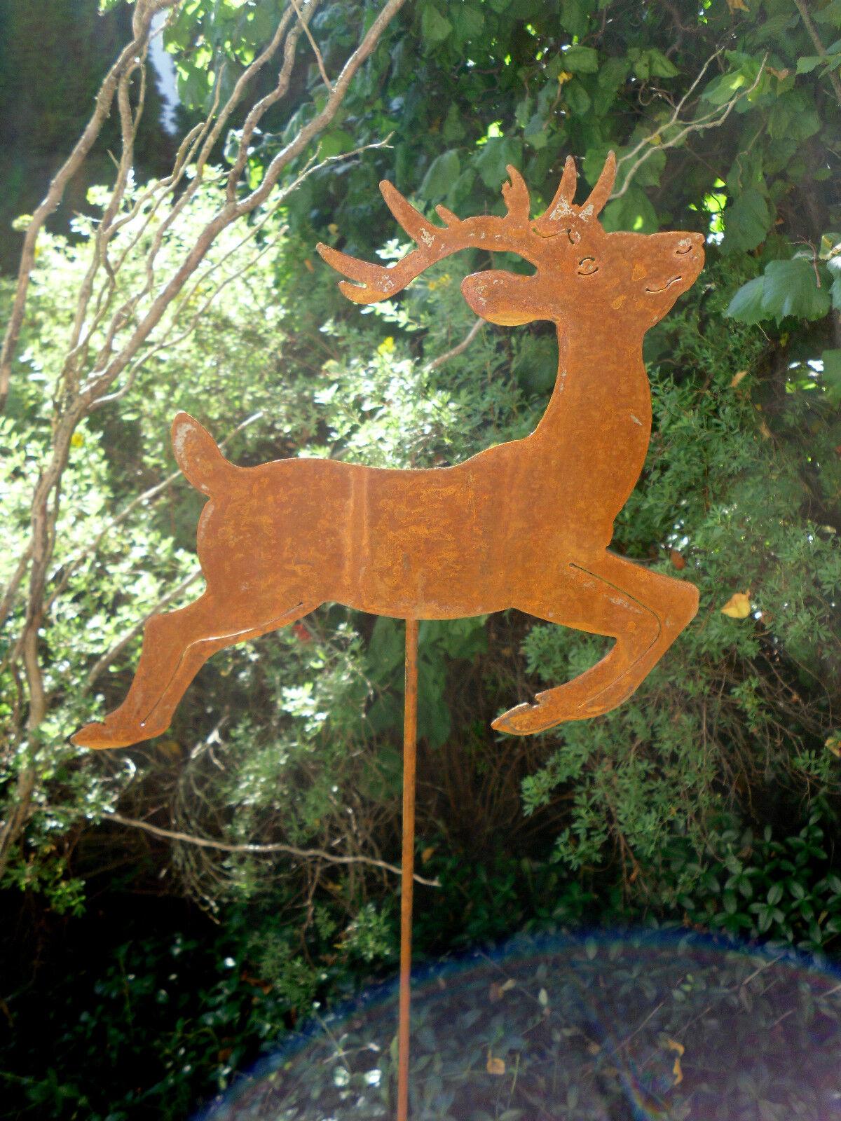 Gartenstecker rentier hirsch rost edelrost weihnachten for Gartenstecker edelrost