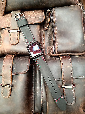Black Nubuck Leather Watch Strap Band For Apple Watch 42mm Series 1 2 3 Silver