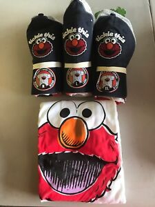 """New Sesame   Street Elmo """"tickle this"""" men's hat and t shirt new"""
