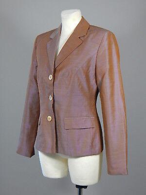 Iris Von Arnim wool silk purple chameleon tailored fit blazer jacket size 38
