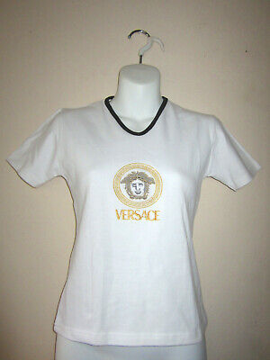 VERSACE JEANS COUTURE WOMENS WHITE TOP T-SHIRT. GOLD EMBROIDER MEDUSA SZ S-M NWT