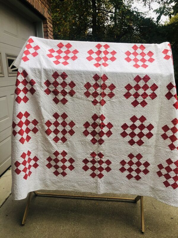 Vintage Quilt- Hand Stitched- 75x74 Early 1900'diamond 12 Patch.