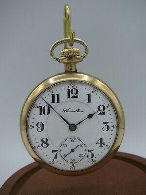 Antique 1919 Hamilton 992 Men's Railroad Open Face Size 16 Gold Pocket Watch