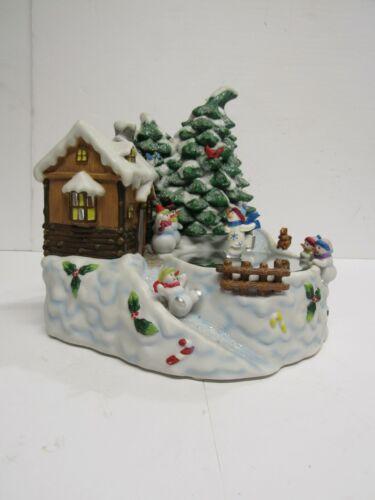 HOME INTERIORS tea light candle holder christmas snowman light up skating pond
