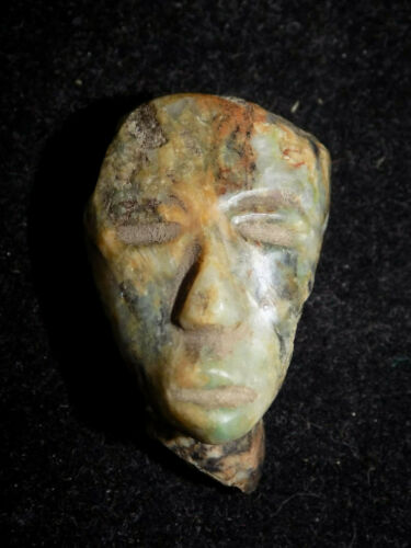 Pre-Columbian Mayan Carved Jade Face, Central America