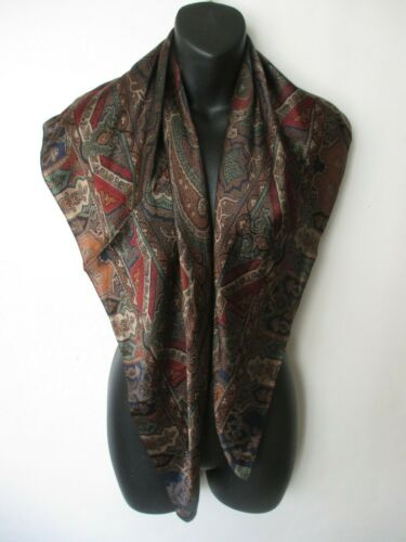 Elegant LAUREN Ralph Lauren brown green blue red Paisley print silk scarf