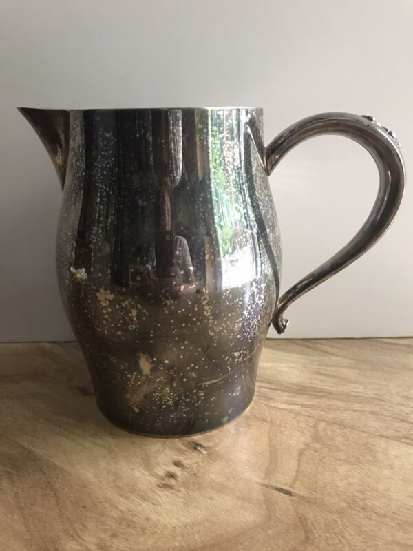 Vintage Wm A Rogers Silver Plated Water Pitcher Pouring Spout Speckled Finish