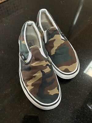 RARE🔥 VANS Slip On Woodland Camo Camouflage Army Green Sz 6 Men's Shoes Skate