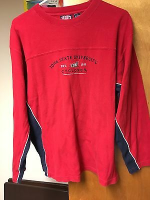 IOWA STATE CYCLONES Sweatshirt Crewneck Medium Red Blue Est. 1858 ISU NCAA EUC