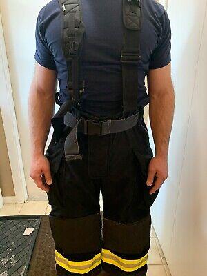 Fireman Pants And Suspenders (Lakeland Firefighter TurnoutGear: Pants and Suspenders; black. Never)
