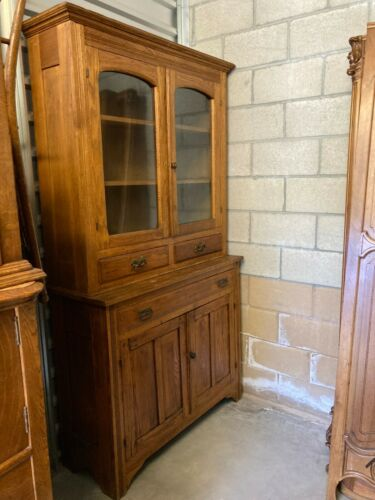 LATE 19TH CENTURY 2 PC Oak BUFFET KITCHEN CUPBOARD HUTCH, drawers, glass doors