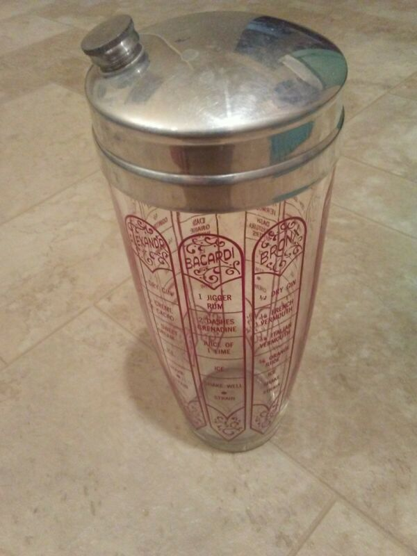 Vintage Cocktail Shaker Red Recipes Glass: Bronx, Manhattan, Martini Chrome Top