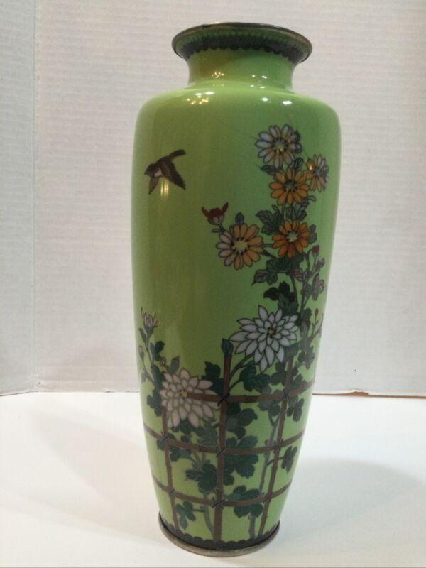 "Antique Japanese Meiji Cloisonne Enamel Light Green Floral & Bird 10"""