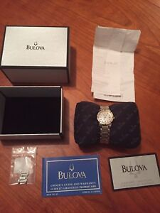 Bulova watch with REAL diamonds, certificate and receipt