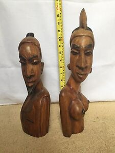 Carved wooden statue of tribal African women Winthrop Melville Area Preview
