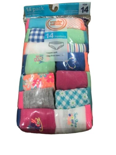 WONDER NATION Girl' 14pk Panties Super Soft Tag Free Hipsters size 4,12,14,16,18