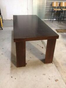 LARGE UNIQUE BROWN WOODEN DINING TABLE, JIGSAW LOCKING LEGS Albert Park Port Phillip Preview