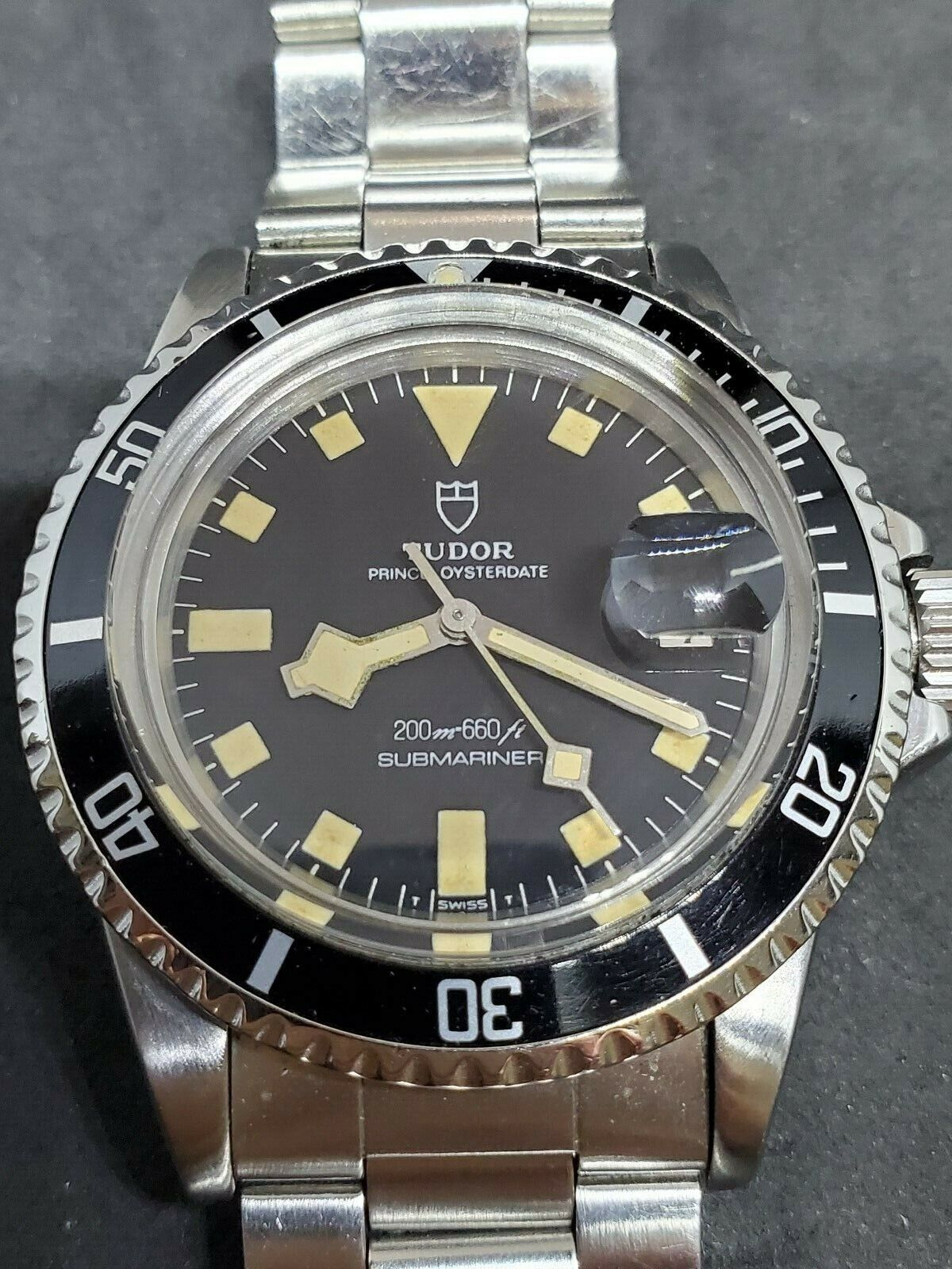 1970s Tudor Submariner Date Black Snowflake Ref. 94110 with Service Papers - watch picture 1