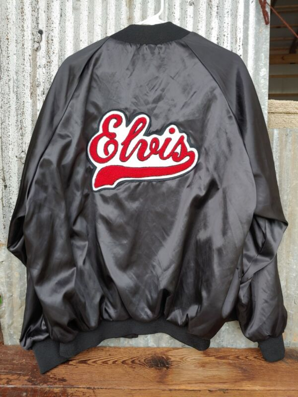 Vintage 2XL Black Nylon Jacket Embroidered Memories of ELVIS Presley TCB Patches