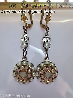 Edwardian earrings pearl crystal dainty vintage drop Art Nouveau Art Deco