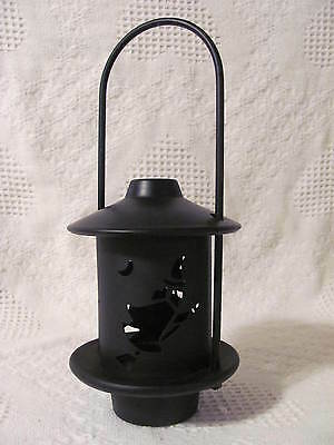 "Halloween Black Metal Candle Lantern Cut Out Witches 11"" tall 4-3/4"" diameter"