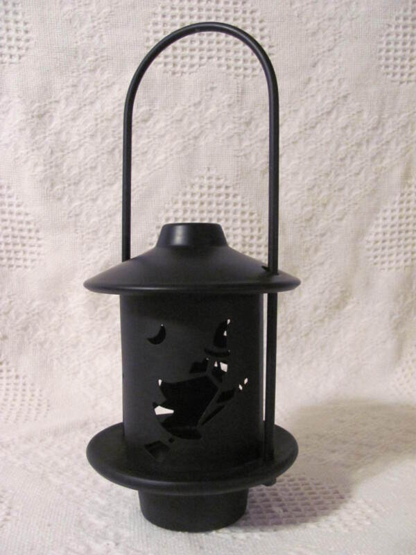 """Halloween Black Metal Candle Lantern Cut Out Witches 11"""" tall 4-3/4"""" diameter"""