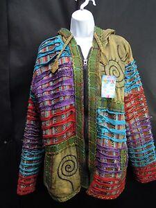 Hippy Boho Vintage Patchwork Cotton Fleece Lined Coat Jacket Top HANDMADE Nepal