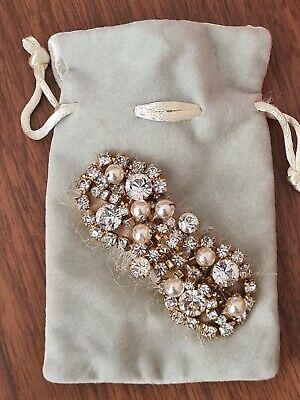 vtg  Jennifer Behr swarovski crystal  & pearl Statement Hair clip