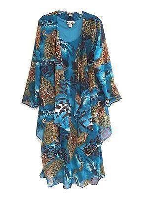Womens Plus Size Printed Two Piece Duster Jacket Dress Sets Sizes 1X 2X 3X Nwt