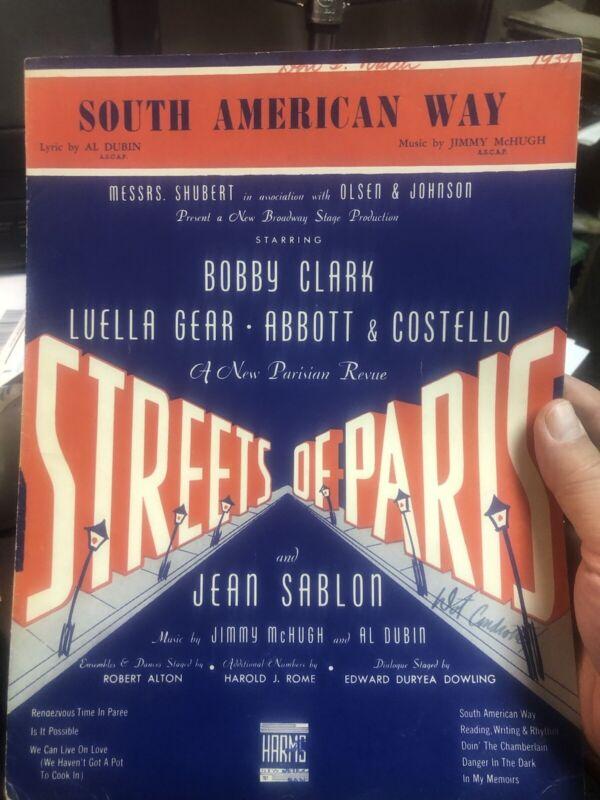 '39 PRE-FILM ABBOTT & COSTELLO sheet music 'South American Way'