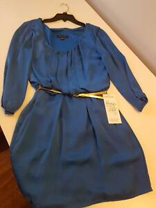 City Triangle Size L Blue Sleeved Dress with Gold Belt – Brand New Wollongong Wollongong Area Preview