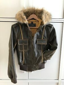 Brand New Steve Madden Hooded Faux Leather with Faux Fur Jacket