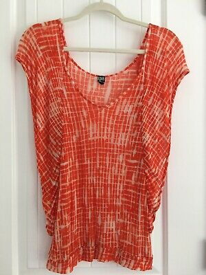 Free People Women's Top Orange Ivory Tie Dye Print Crochet Boho EUC Size Small