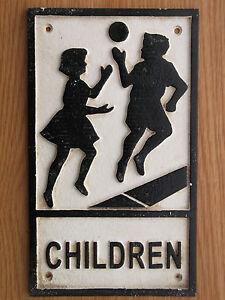 Black & White  Cast Iron / Metal  CHILDREN Sign not enamel