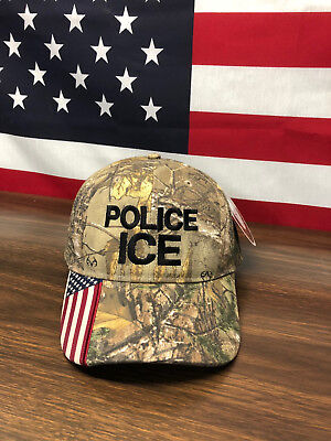 Police Ice American Flag Realtree Hat Keep America Great MAGA USA Camo Cap ()