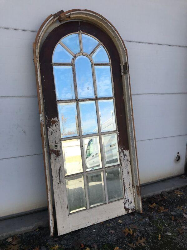 Mar C Antique arch top door with jamb beveled glass 34 x 80.5 X1.75