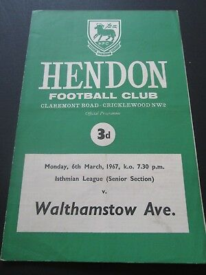 Football Programme - Hendon v Walthamstow Avenue 6/3/1967