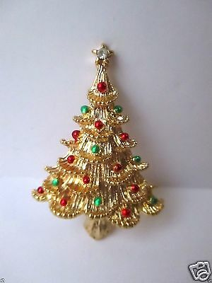 (Signed Gerry's Christmas Tree Pin Brooch FREE SHIP Holiday Collectable Vintage)